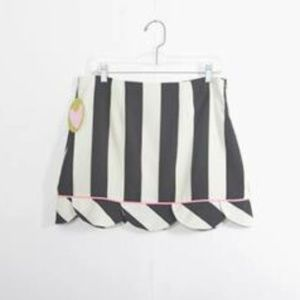 Judith March Large Pique Skirt Striped Black White
